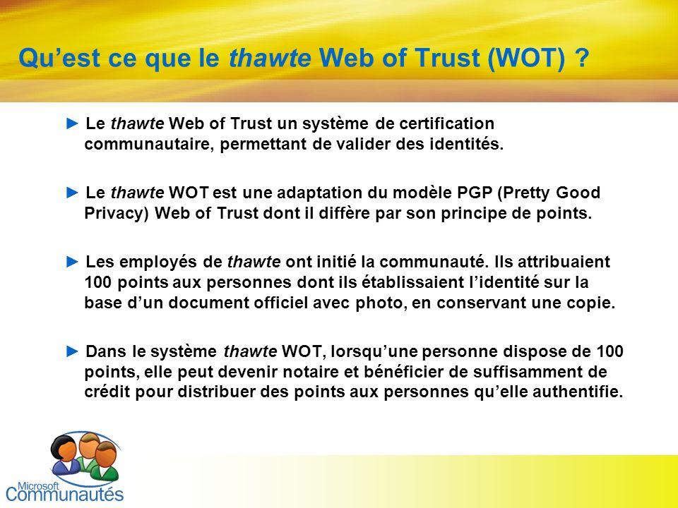 Qu'est ce que le thawte Web of Trust (WOT)
