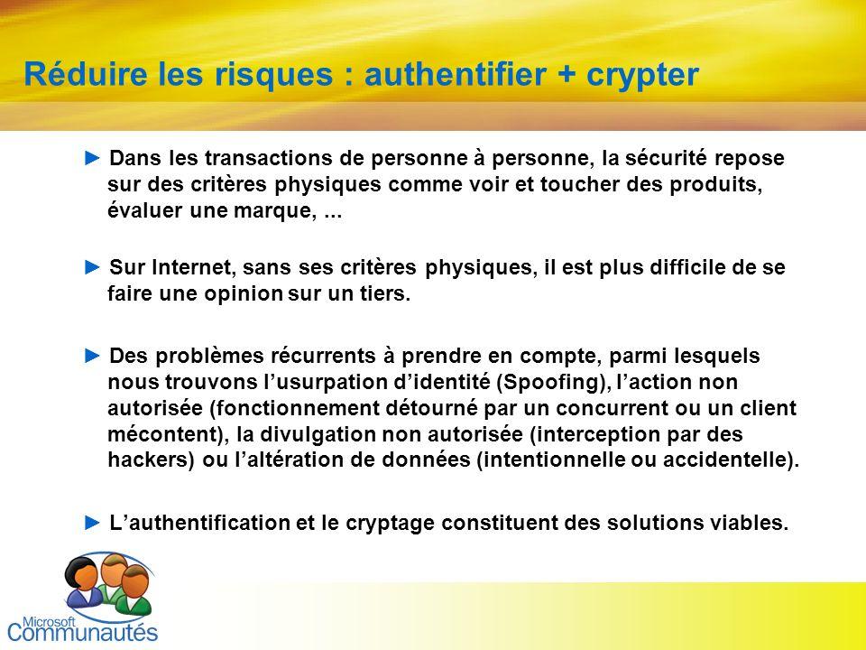 Réduire les risques : authentifier + crypter
