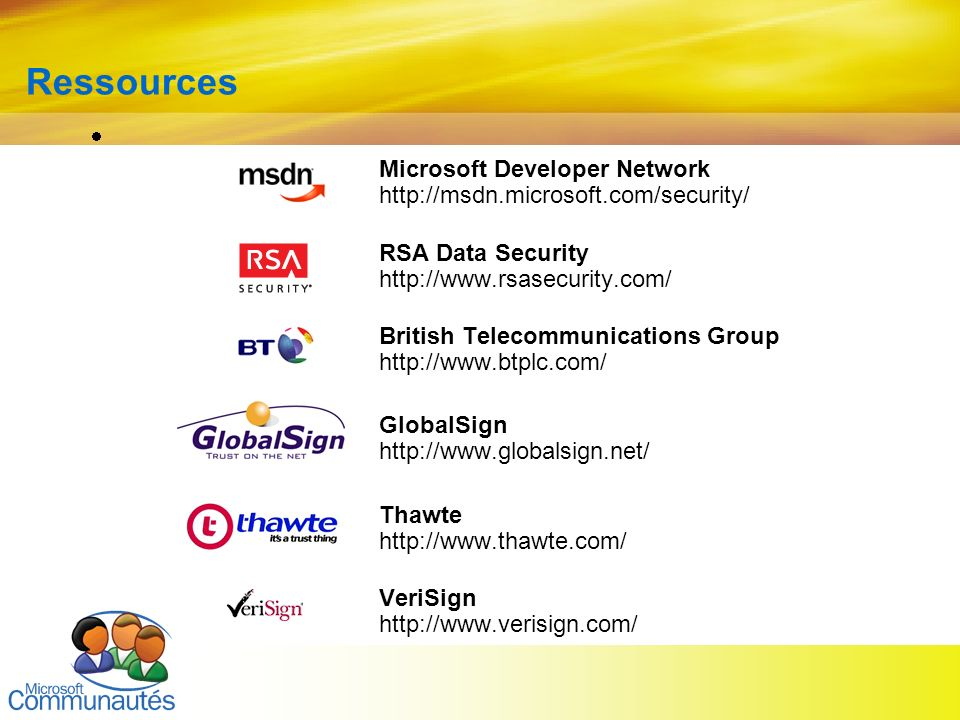 Ressources Microsoft Developer Network http://msdn.microsoft.com/security/ RSA Data Security http://www.rsasecurity.com/