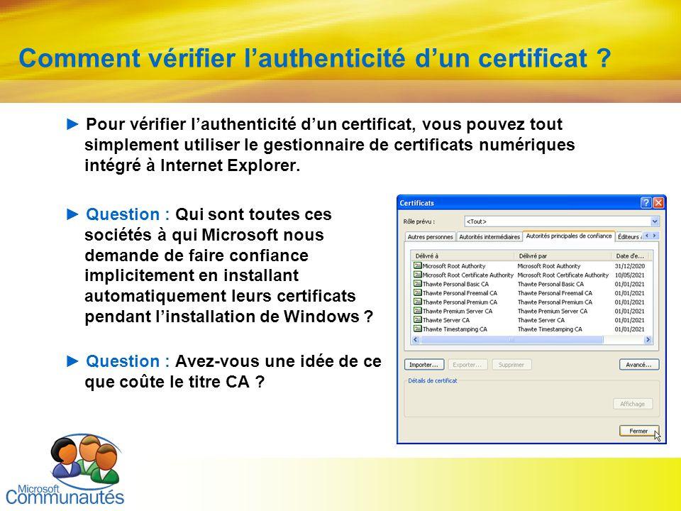 Comment vérifier l'authenticité d'un certificat