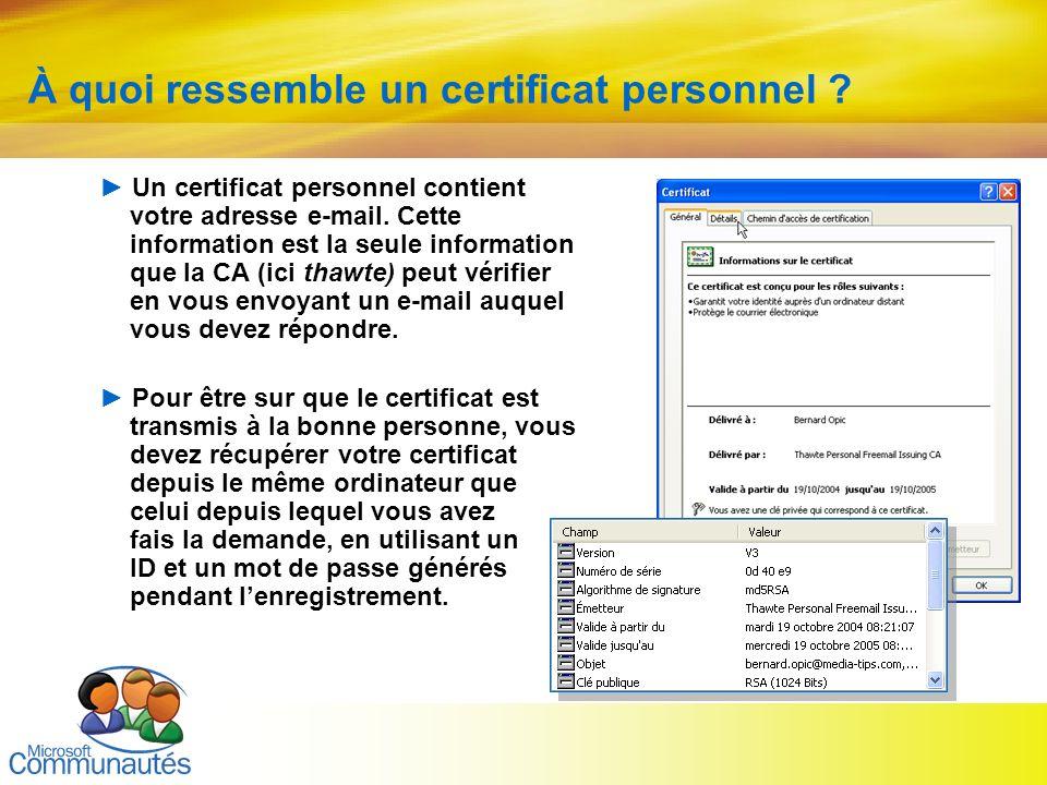 À quoi ressemble un certificat personnel