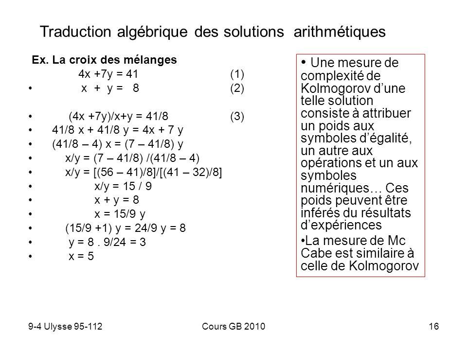 Traduction algébrique des solutions arithmétiques