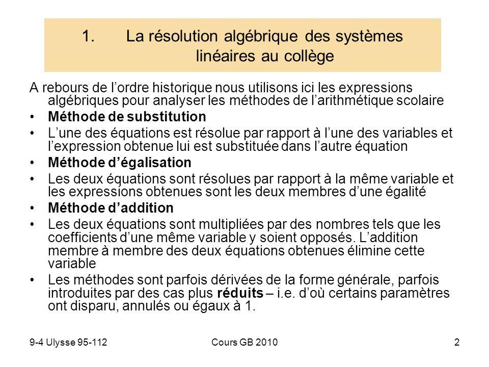 La résolution algébrique des systèmes linéaires au collège