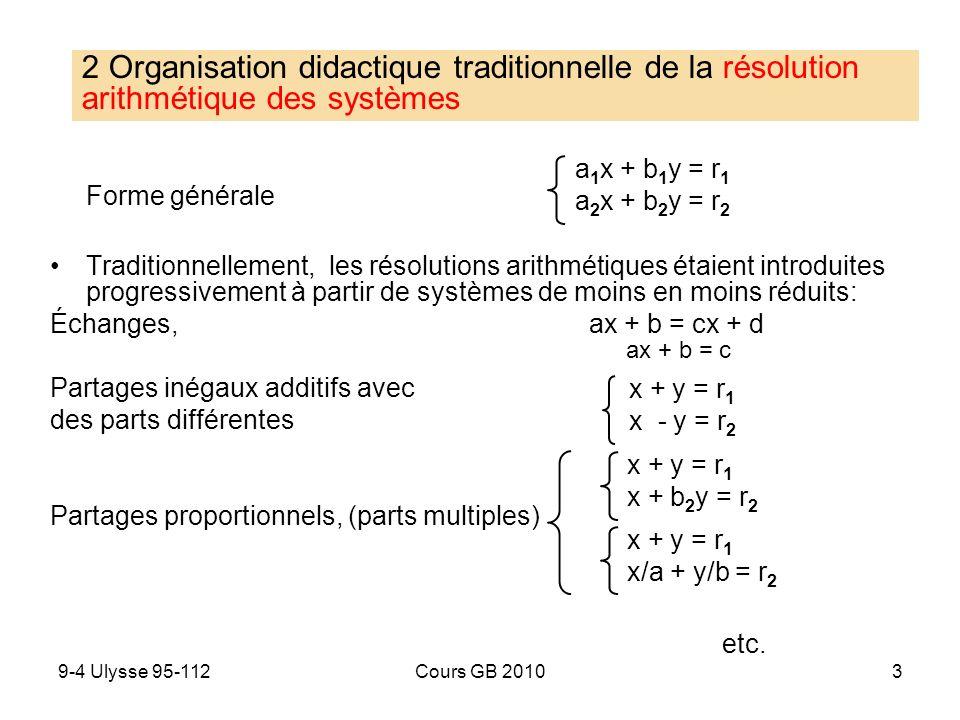 2 Organisation didactique traditionnelle de la résolution arithmétique des systèmes