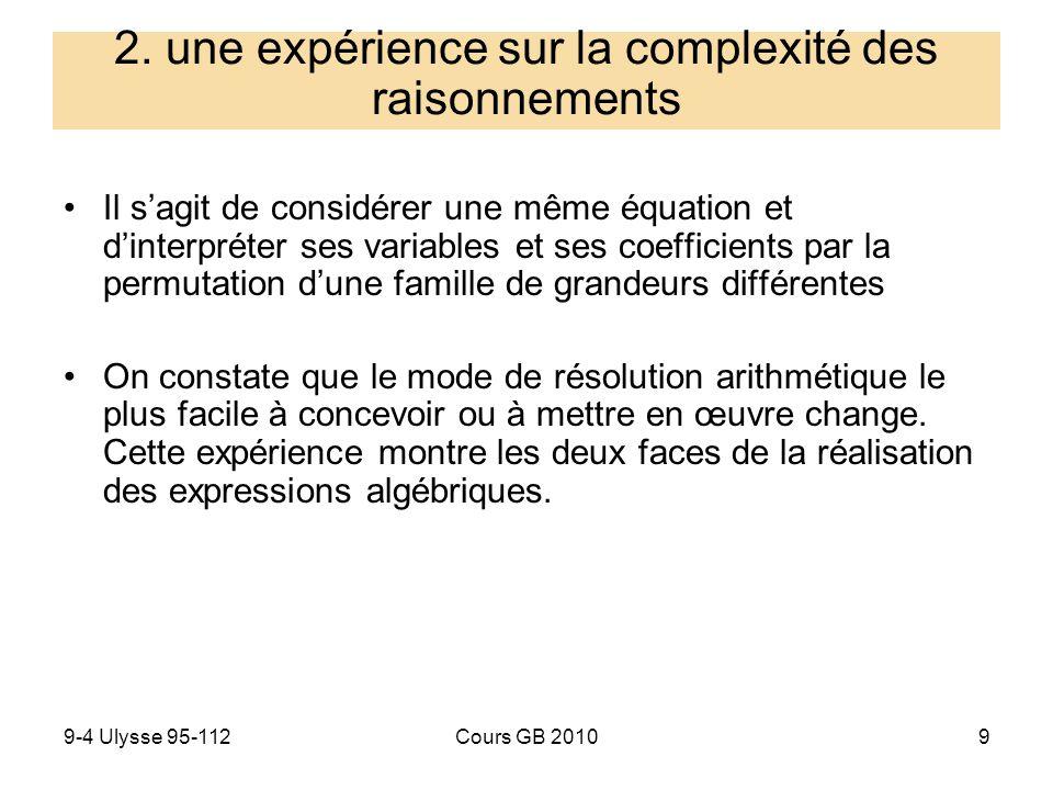 2. une expérience sur la complexité des raisonnements