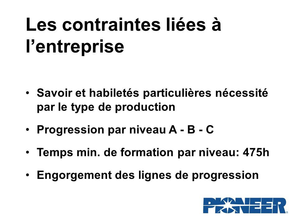 Les contraintes liées à l'entreprise