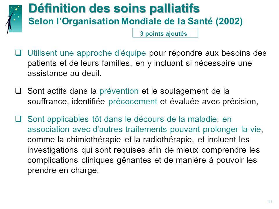 Définition des soins palliatifs Selon l'Organisation Mondiale de la Santé (2002) 3 points ajoutés