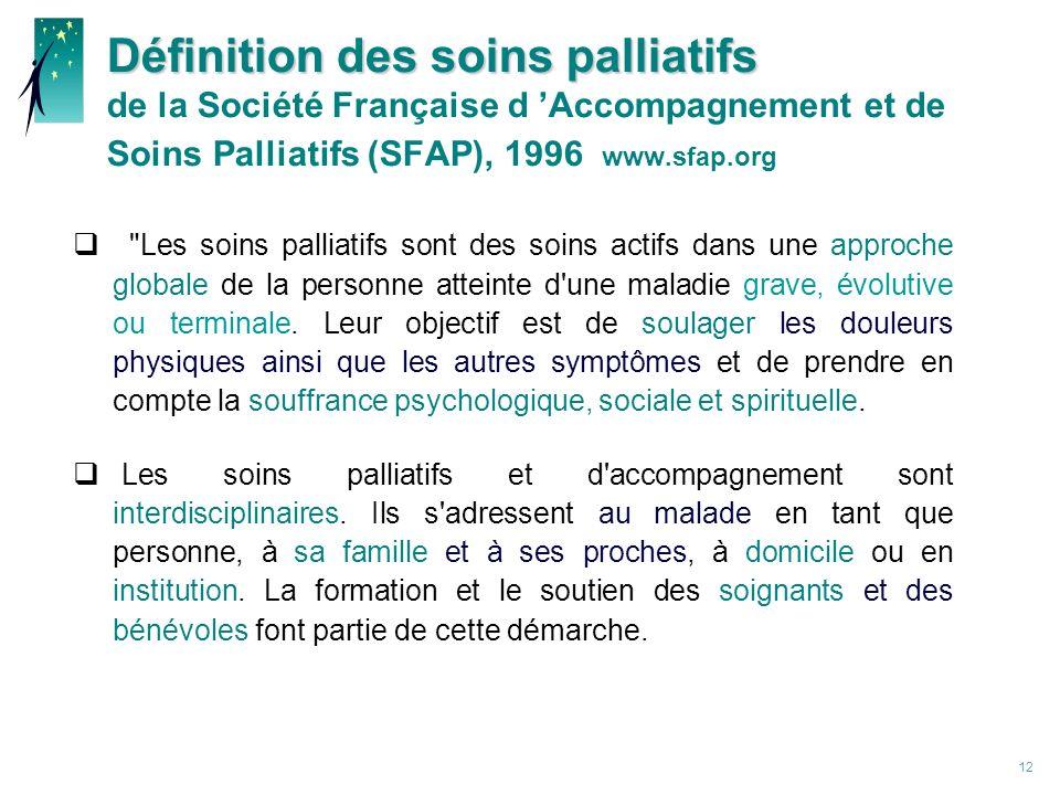 Définition des soins palliatifs de la Société Française d 'Accompagnement et de Soins Palliatifs (SFAP), 1996 www.sfap.org