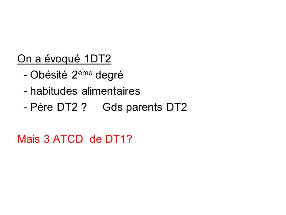 On a évoqué 1DT2 - Obésité 2ème degré. - habitudes alimentaires. - Père DT2 Gds parents DT2.