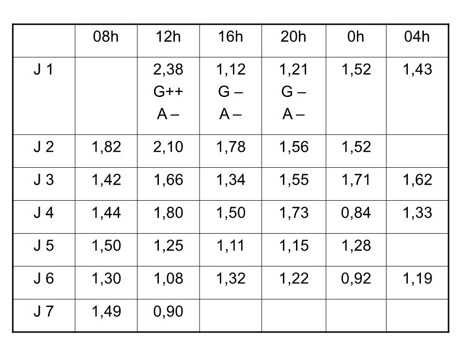08h12h. 16h. 20h. 0h. 04h. J 1. 2,38. G++ A – 1,12. G – 1,21. 1,52. 1,43. J 2. 1,82. 2,10. 1,78. 1,56.