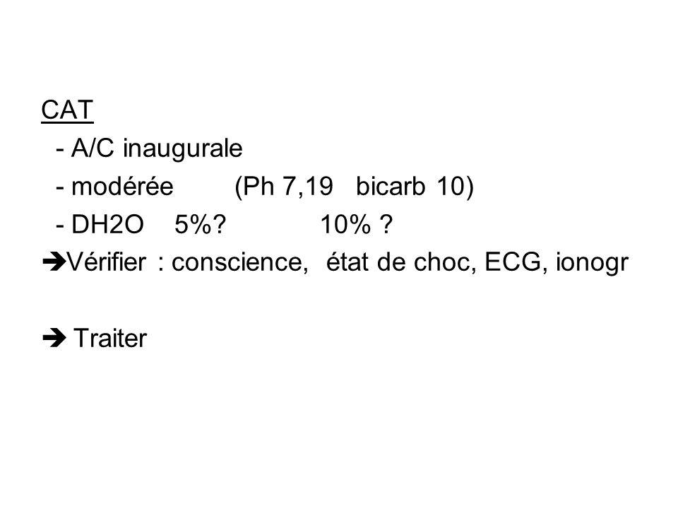 CAT - A/C inaugurale. - modérée (Ph 7,19 bicarb 10) - DH2O 5% 10% Vérifier : conscience, état de choc, ECG, ionogr.