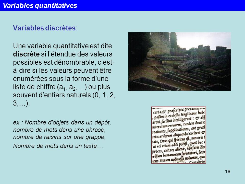 Variables quantitatives