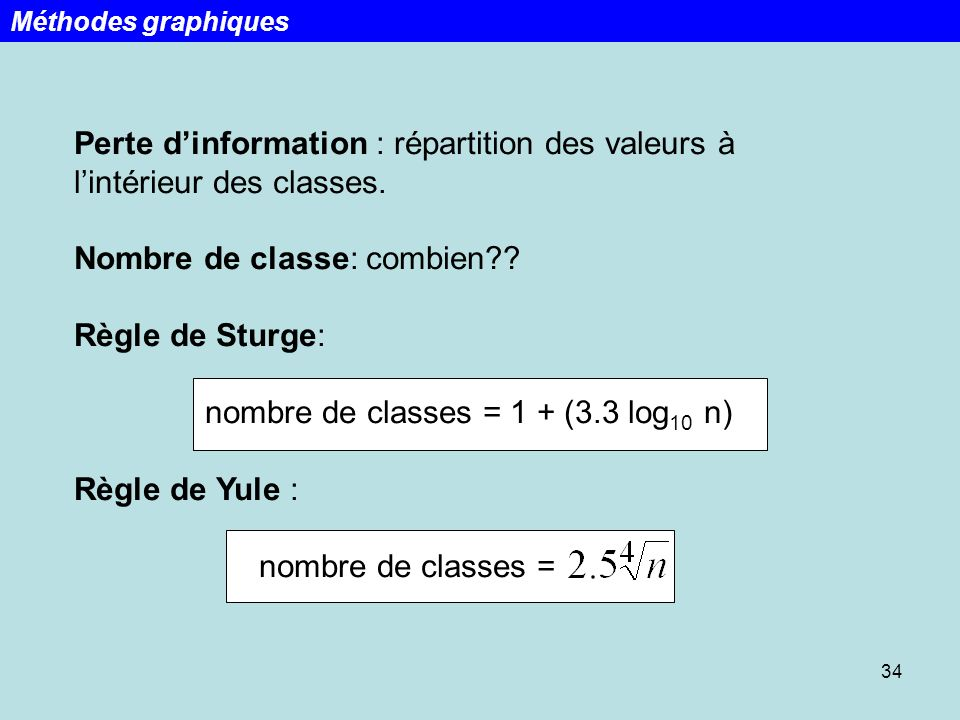 nombre de classes = 1 + (3.3 log10 n)