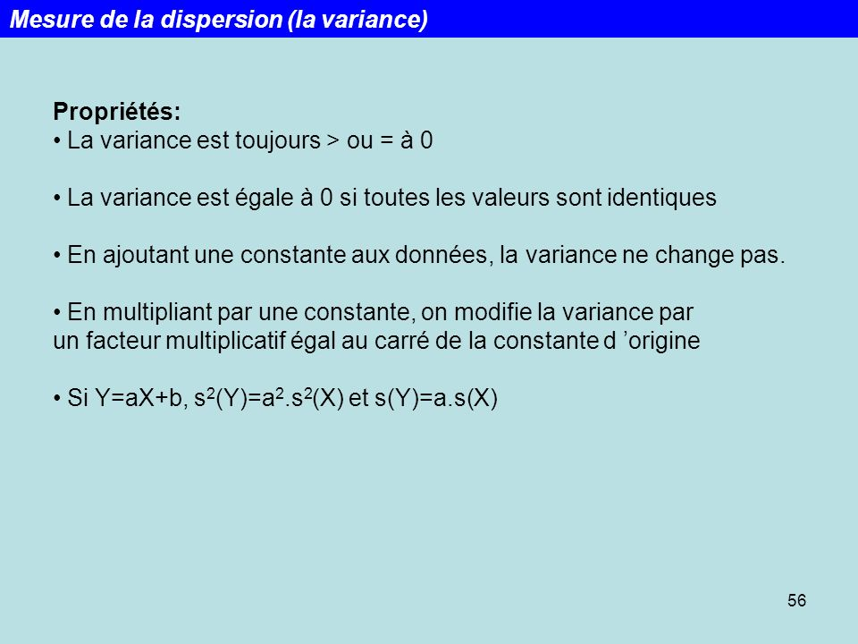 Mesure de la dispersion (la variance)