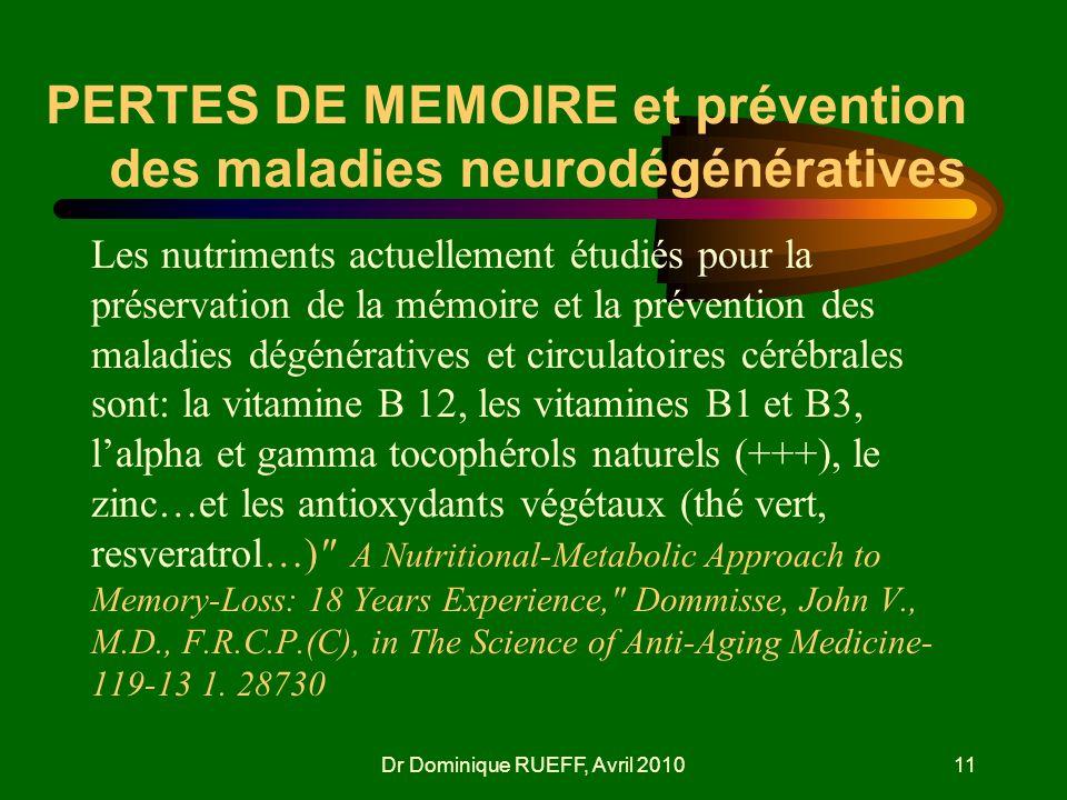 PERTES DE MEMOIRE et prévention des maladies neurodégénératives