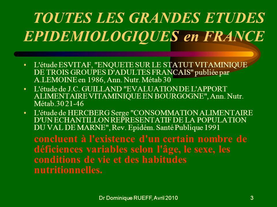 TOUTES LES GRANDES ETUDES EPIDEMIOLOGIQUES en FRANCE