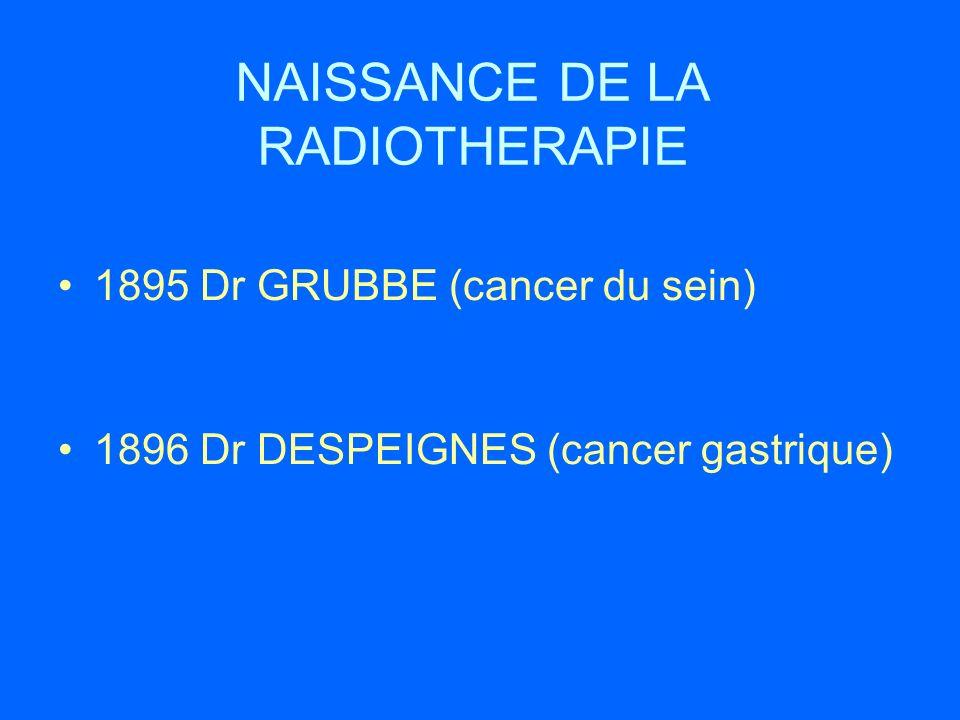 NAISSANCE DE LA RADIOTHERAPIE