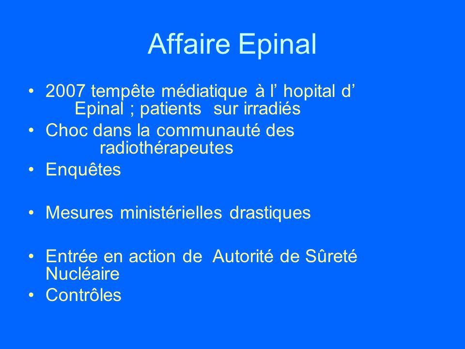 Affaire Epinal 2007 tempête médiatique à l' hopital d' Epinal ; patients sur irradiés. Choc dans la communauté des radiothérapeutes.
