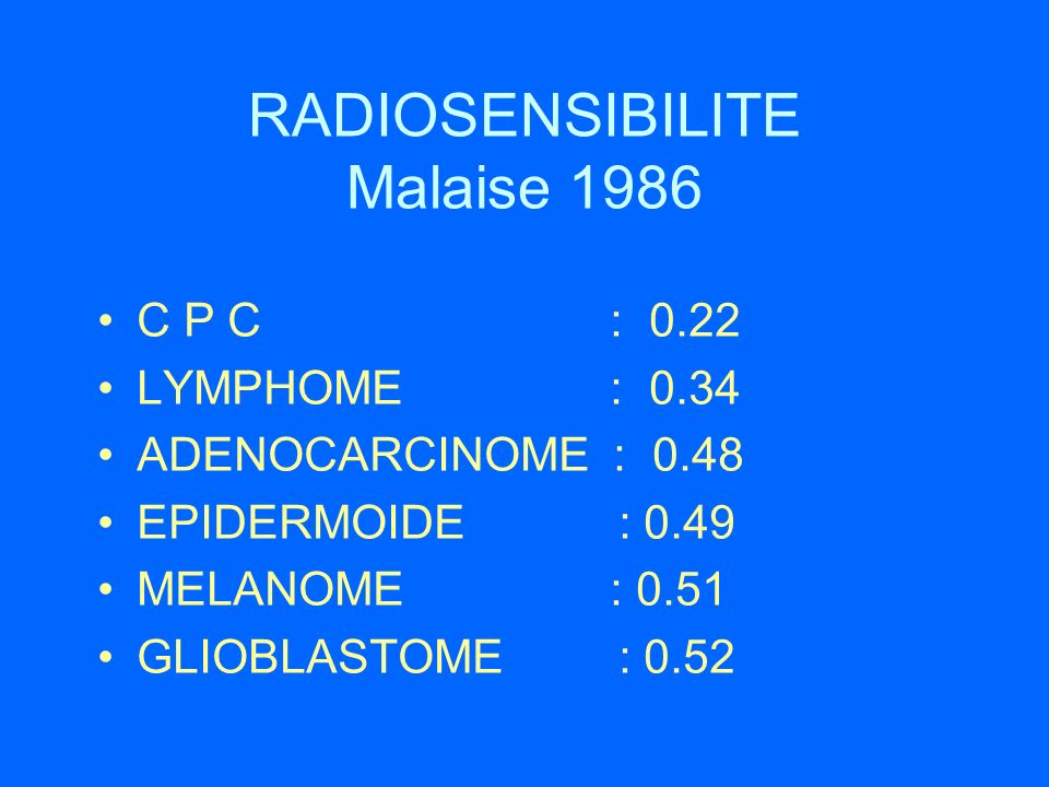 RADIOSENSIBILITE Malaise 1986