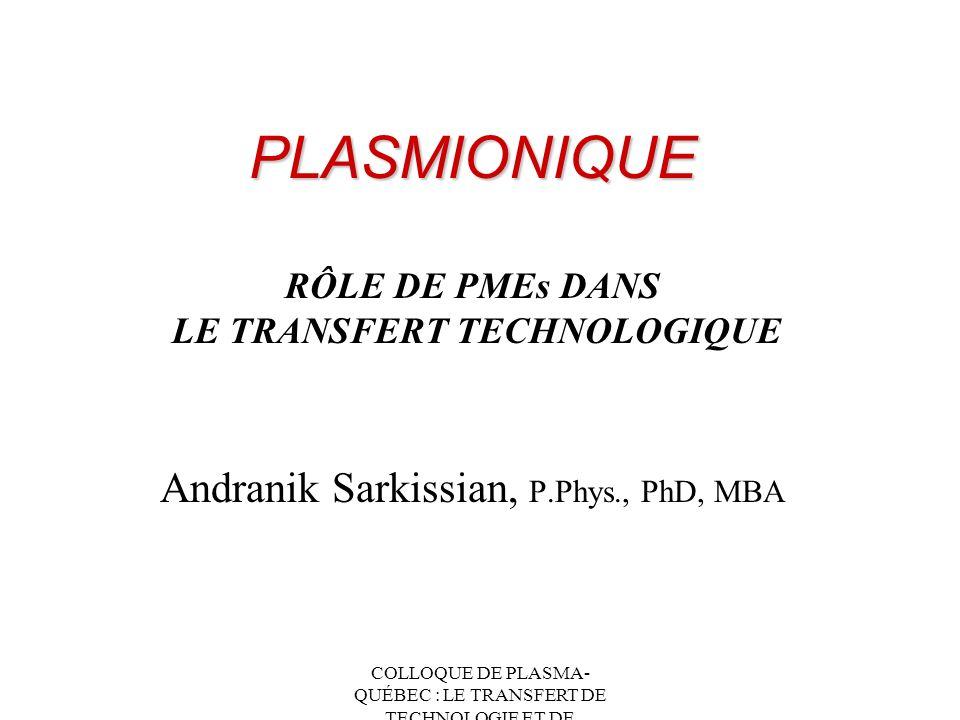 PLASMIONIQUE RÔLE DE PMEs DANS LE TRANSFERT TECHNOLOGIQUE