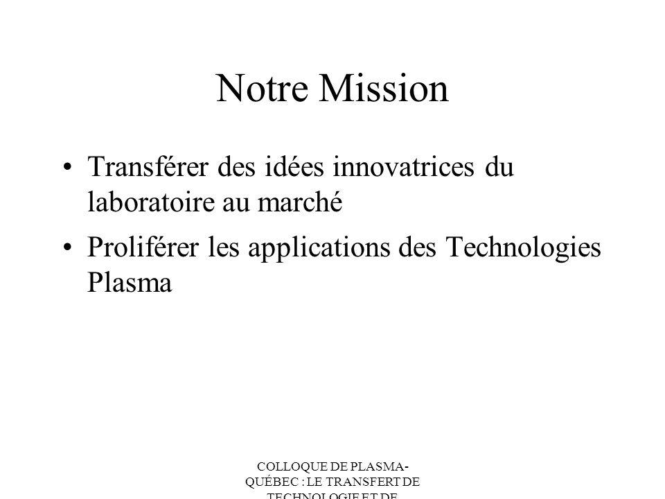 Notre Mission Transférer des idées innovatrices du laboratoire au marché. Proliférer les applications des Technologies Plasma.