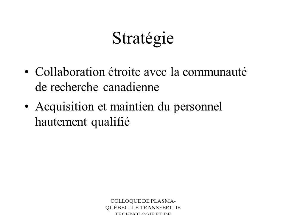 Stratégie Collaboration étroite avec la communauté de recherche canadienne. Acquisition et maintien du personnel hautement qualifié.
