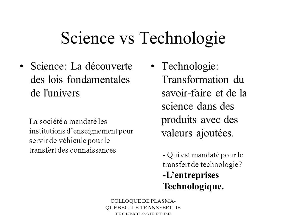 Science vs Technologie