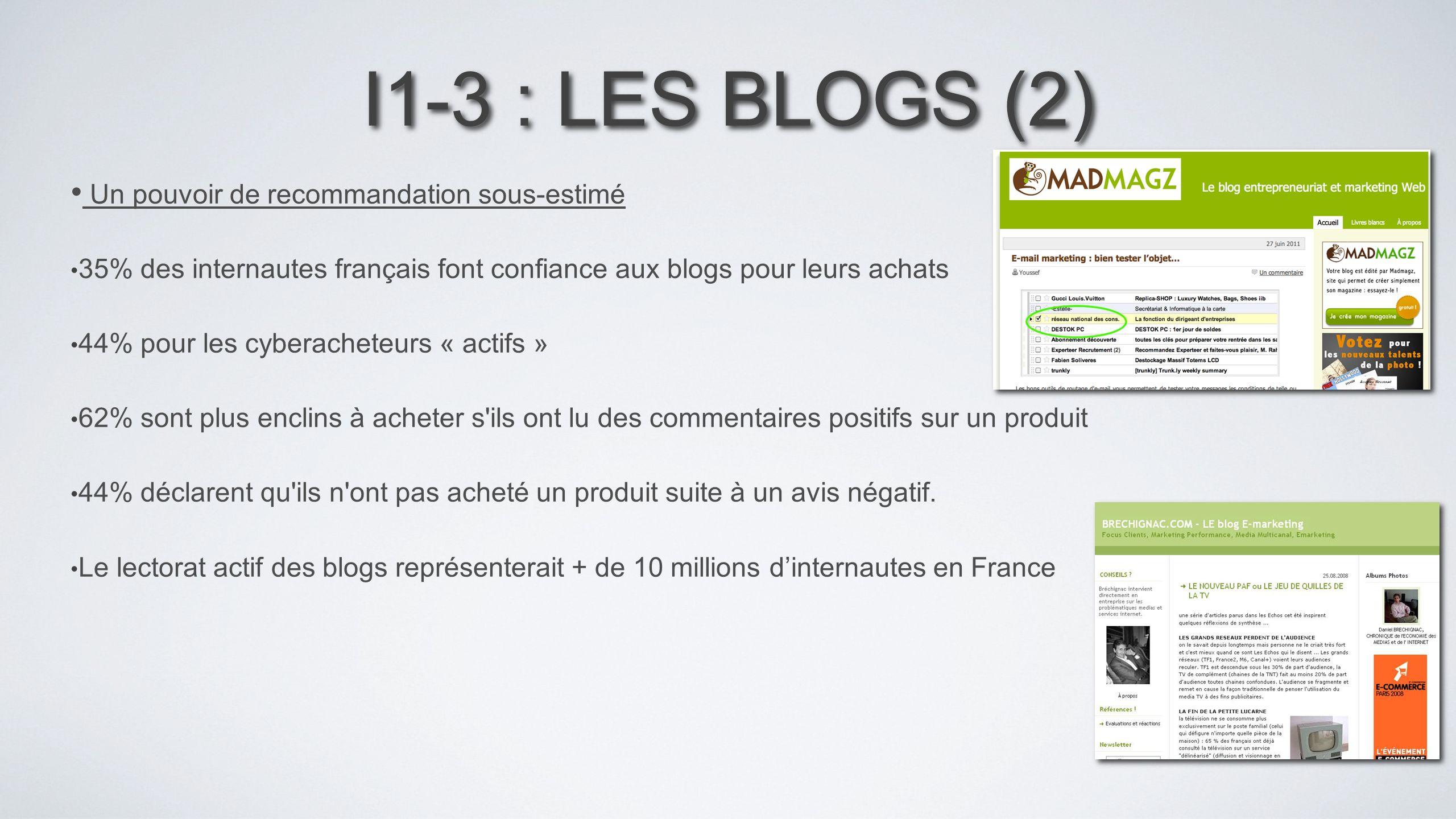I1-3 : LES BLOGS (2) Un pouvoir de recommandation sous-estimé