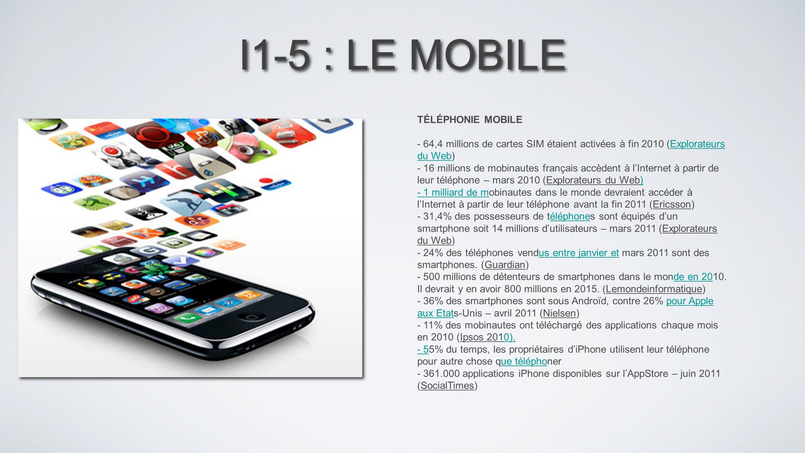 I1-5 : LE MOBILE TÉLÉPHONIE MOBILE