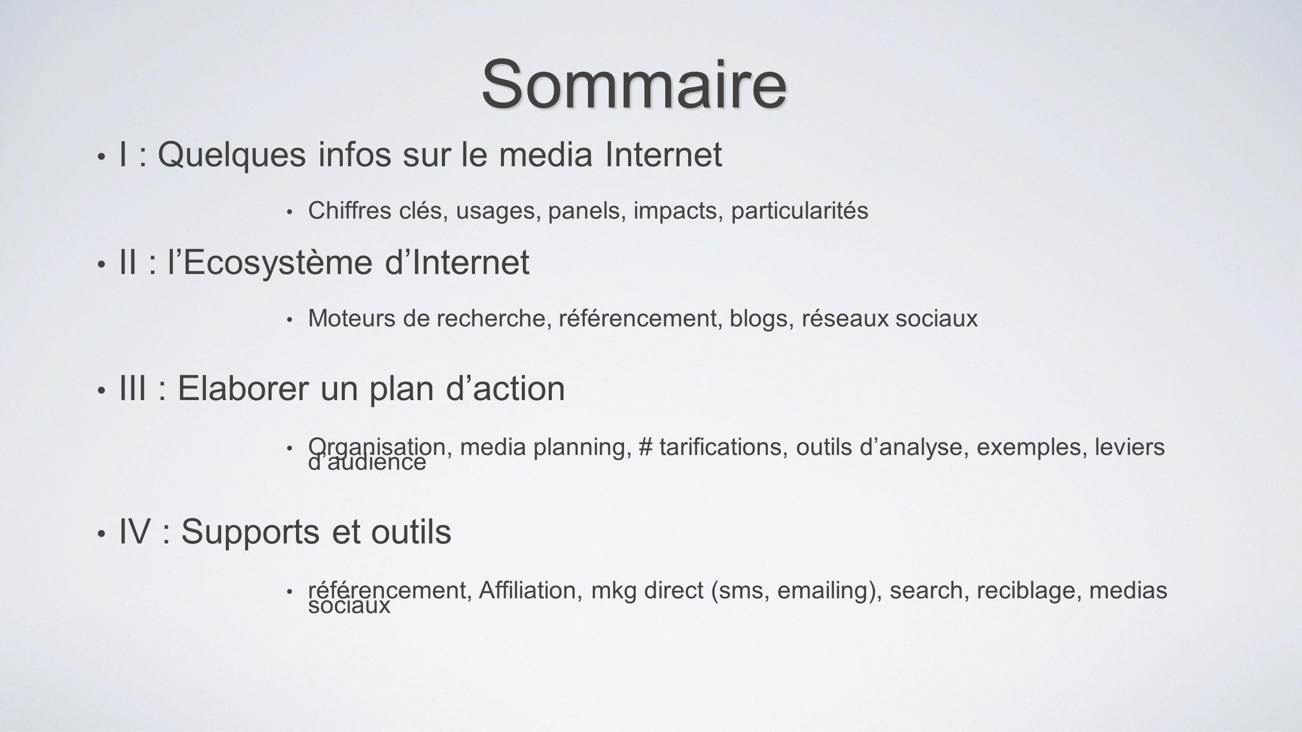 Sommaire I : Quelques infos sur le media Internet