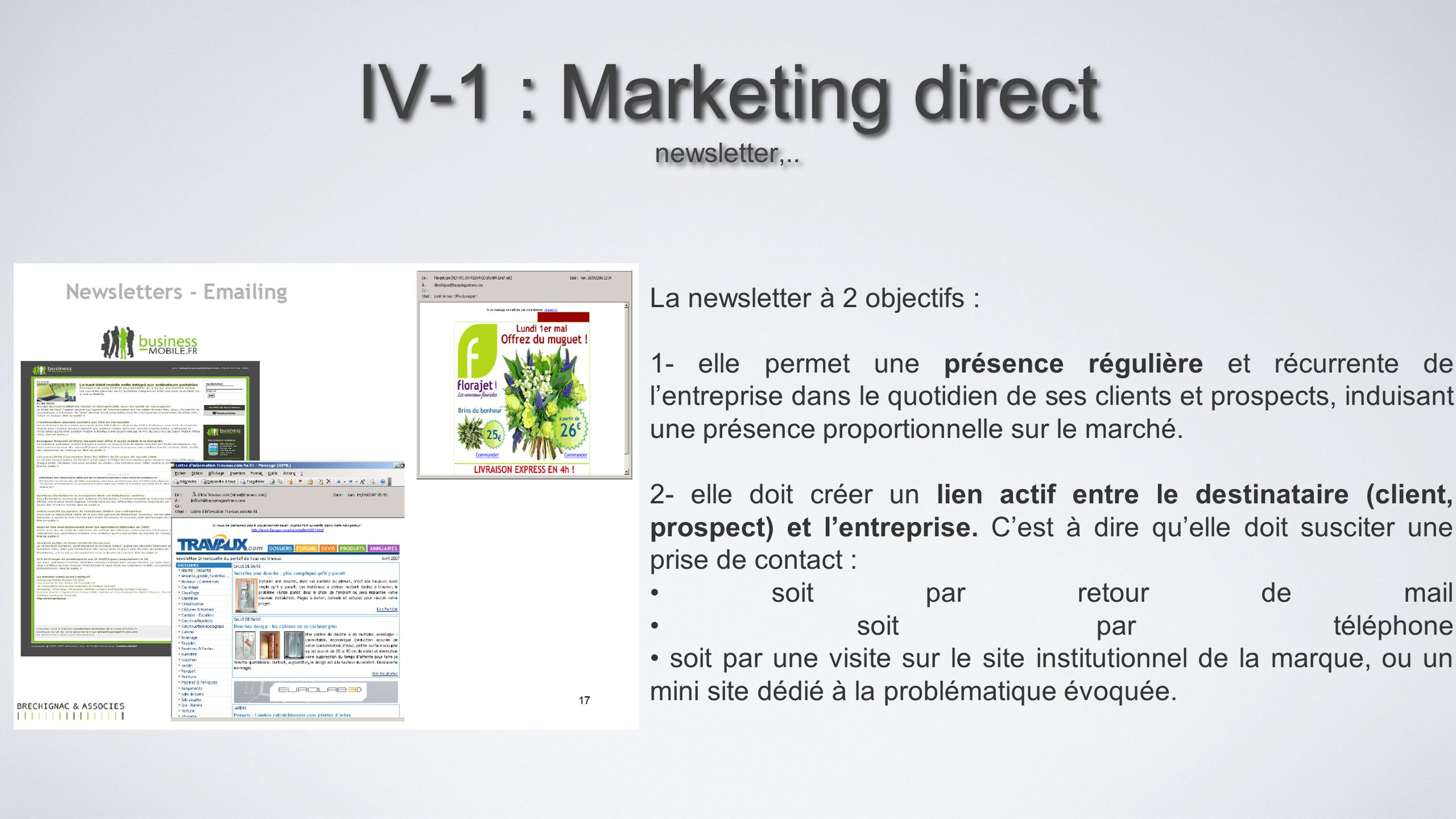 IV-1 : Marketing direct newsletter,..