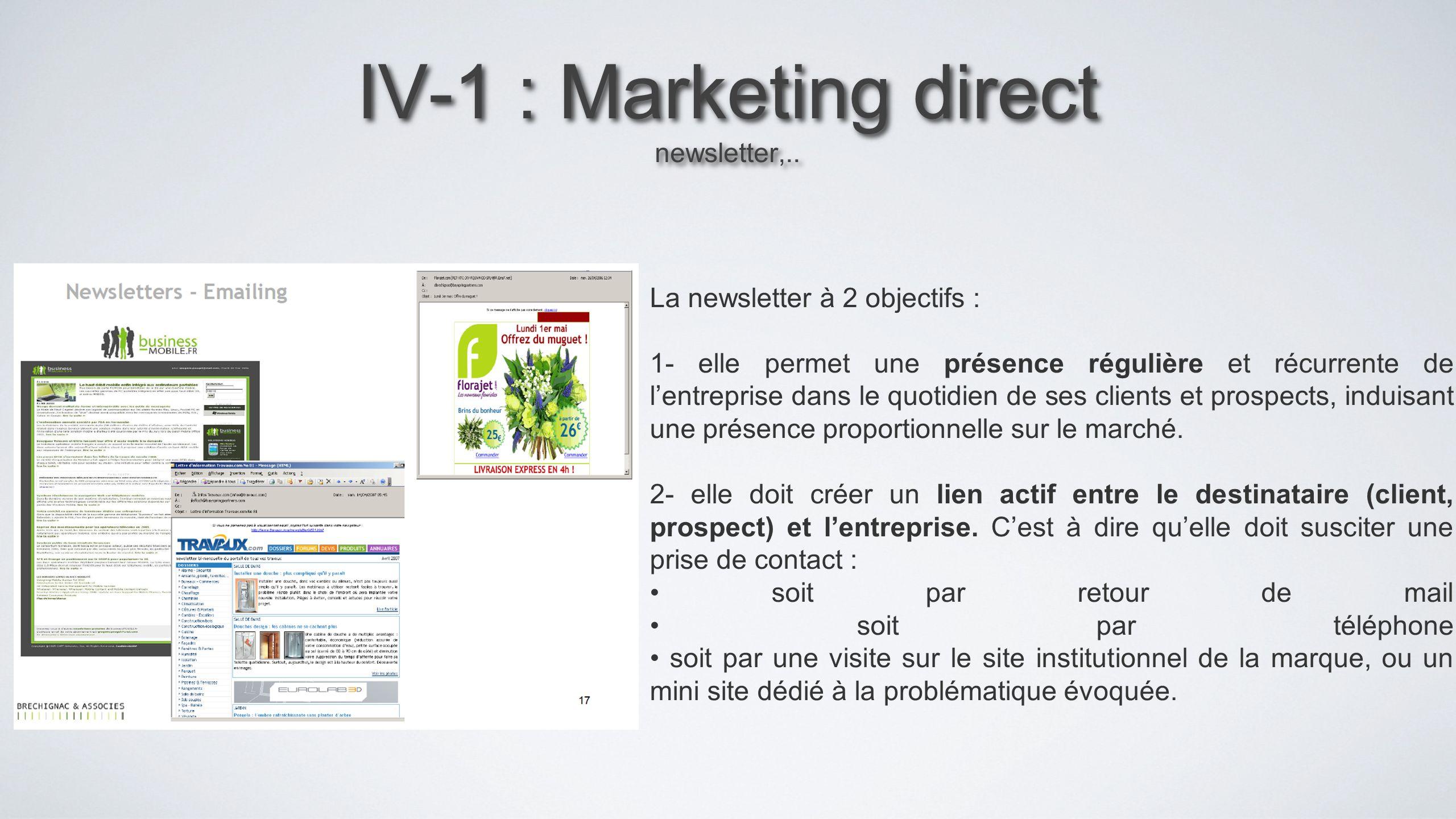IV-1 : Marketing direct newsletter,..