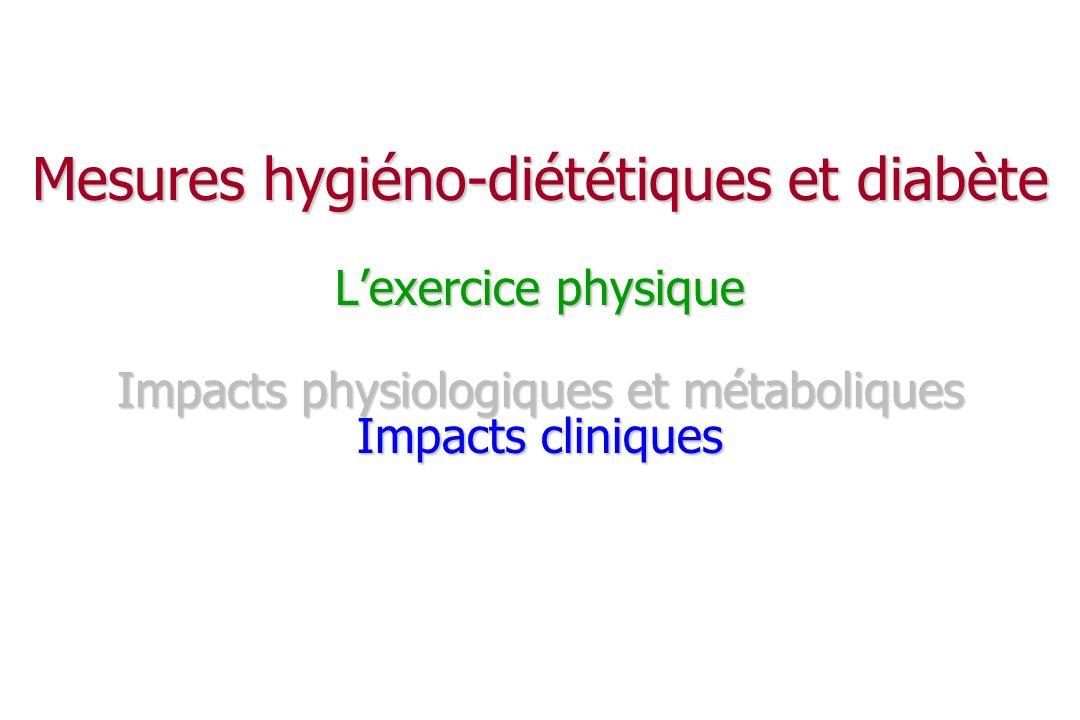 Mesures hygiéno-diététiques et diabète L'exercice physique Impacts physiologiques et métaboliques Impacts cliniques