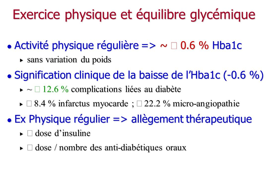 Exercice physique et équilibre glycémique