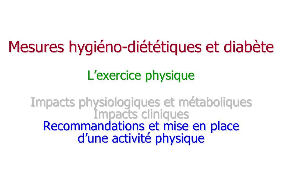 Mesures hygiéno-diététiques et diabète L'exercice physique Impacts physiologiques et métaboliques Impacts cliniques Recommandations et mise en place d'une activité physique