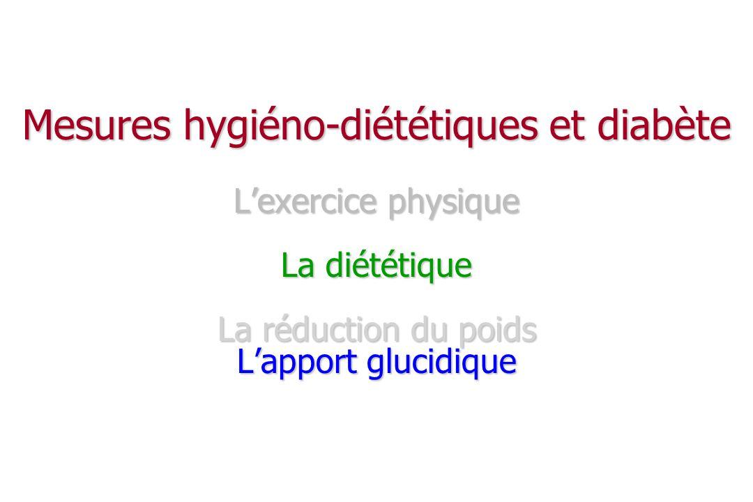 Mesures hygiéno-diététiques et diabète L'exercice physique La diététique La réduction du poids L'apport glucidique