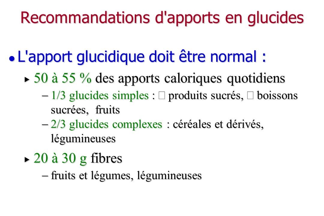 Recommandations d apports en glucides