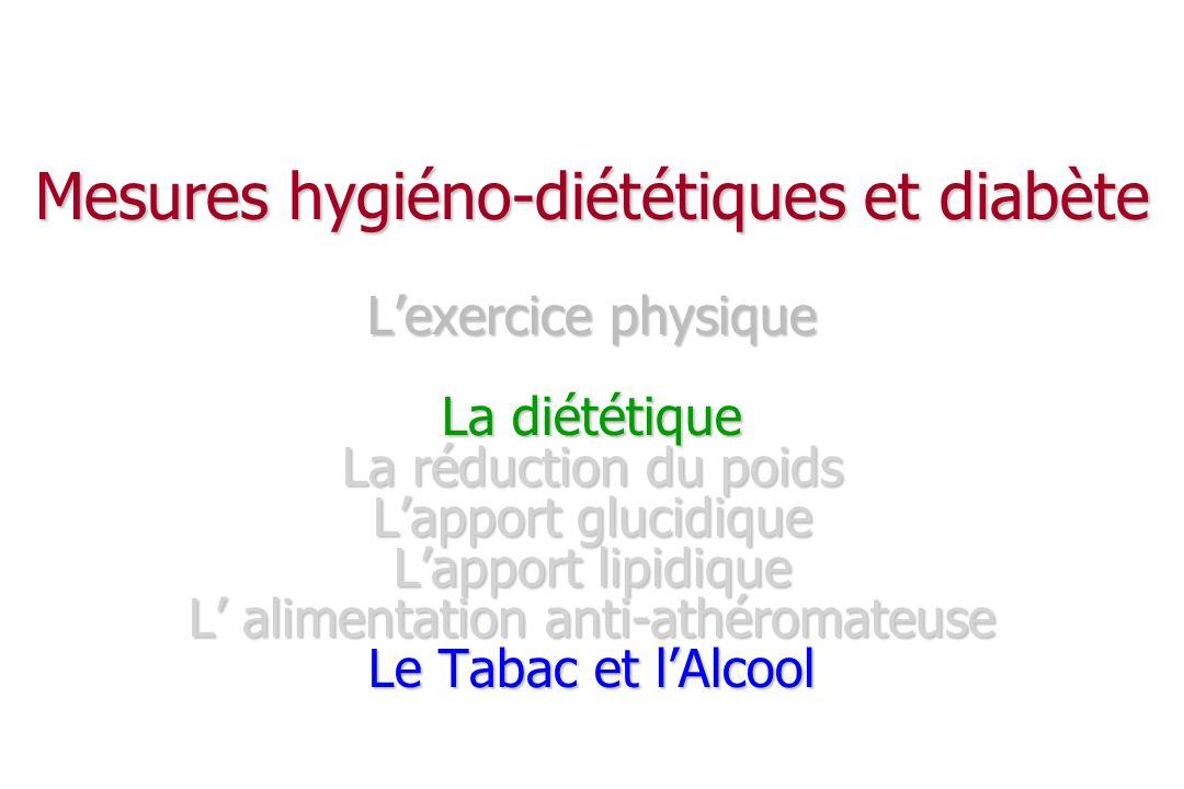 Mesures hygiéno-diététiques et diabète L'exercice physique La diététique La réduction du poids L'apport glucidique L'apport lipidique L' alimentation anti-athéromateuse Le Tabac et l'Alcool