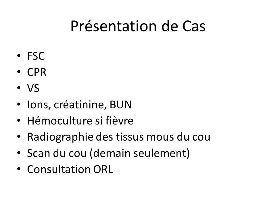 Présentation de Cas FSC CPR VS Ions, créatinine, BUN