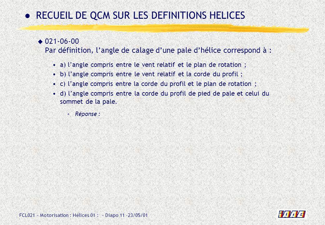 RECUEIL DE QCM SUR LES DEFINITIONS HELICES