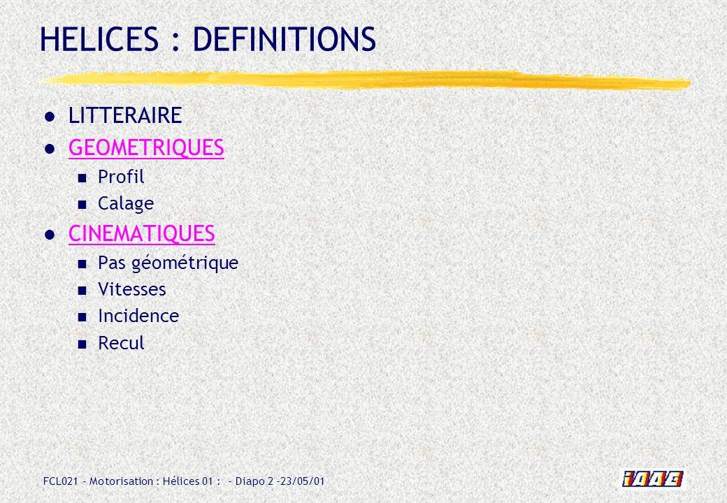 HELICES : DEFINITIONS LITTERAIRE GEOMETRIQUES CINEMATIQUES Profil