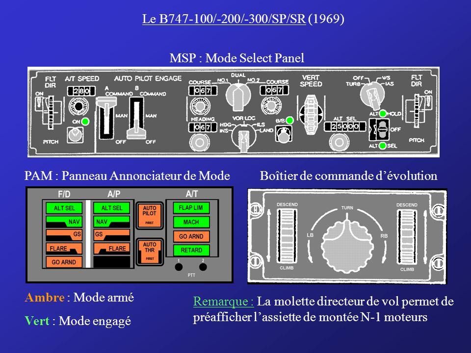 Le B747-100/-200/-300/SP/SR (1969) MSP : Mode Select Panel. PAM : Panneau Annonciateur de Mode. Boîtier de commande d'évolution.