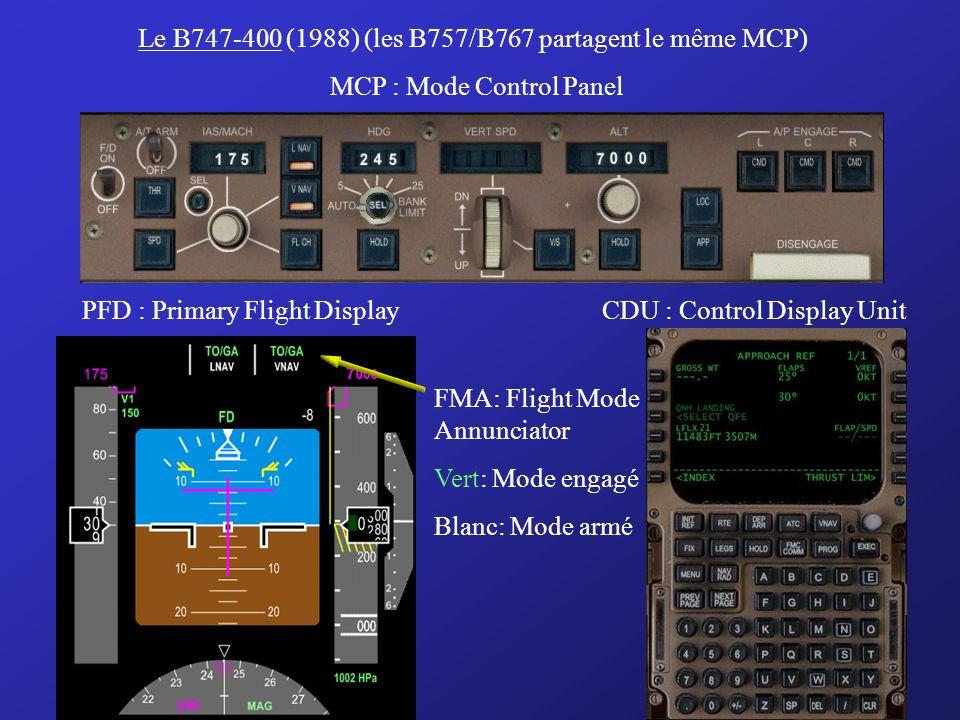 Le B747-400 (1988) (les B757/B767 partagent le même MCP)