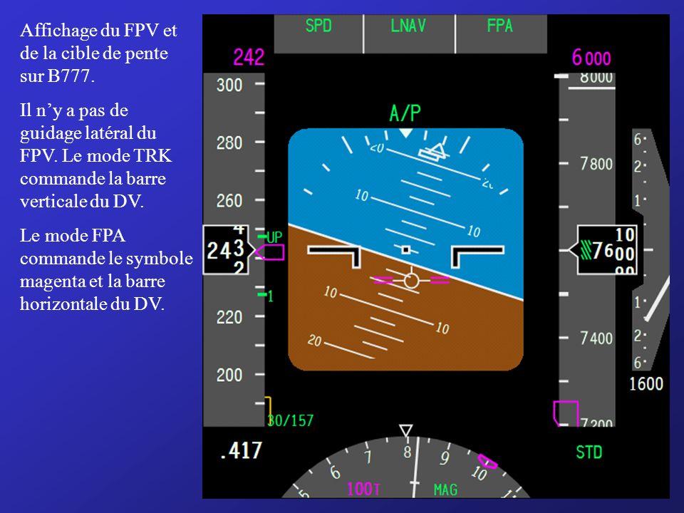 Affichage du FPV et de la cible de pente sur B777.