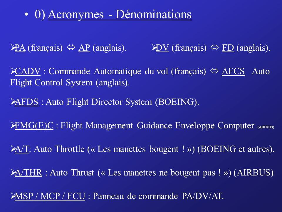 0) Acronymes - Dénominations
