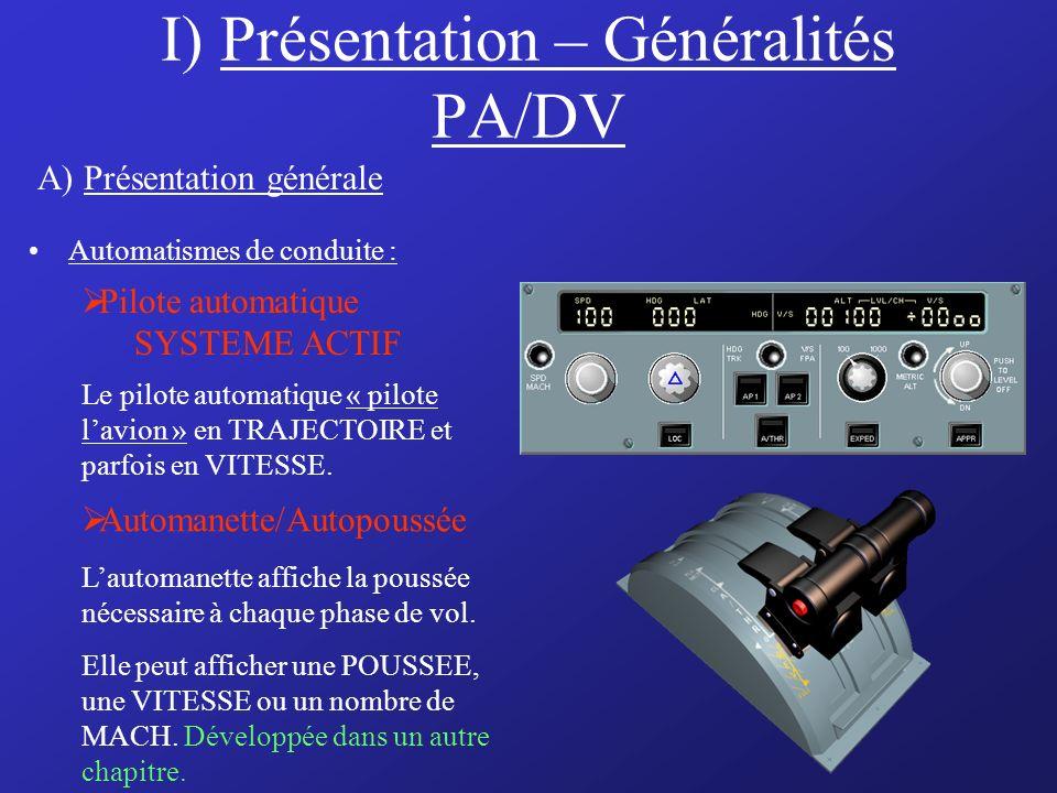 I) Présentation – Généralités PA/DV