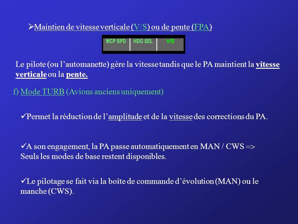 Maintien de vitesse verticale (V/S) ou de pente (FPA)