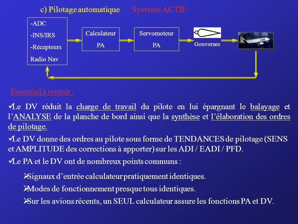 c) Pilotage automatique Système ACTIF