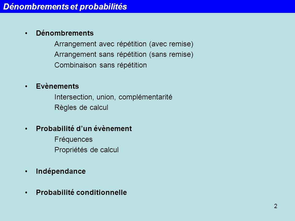 Dénombrements et probabilités
