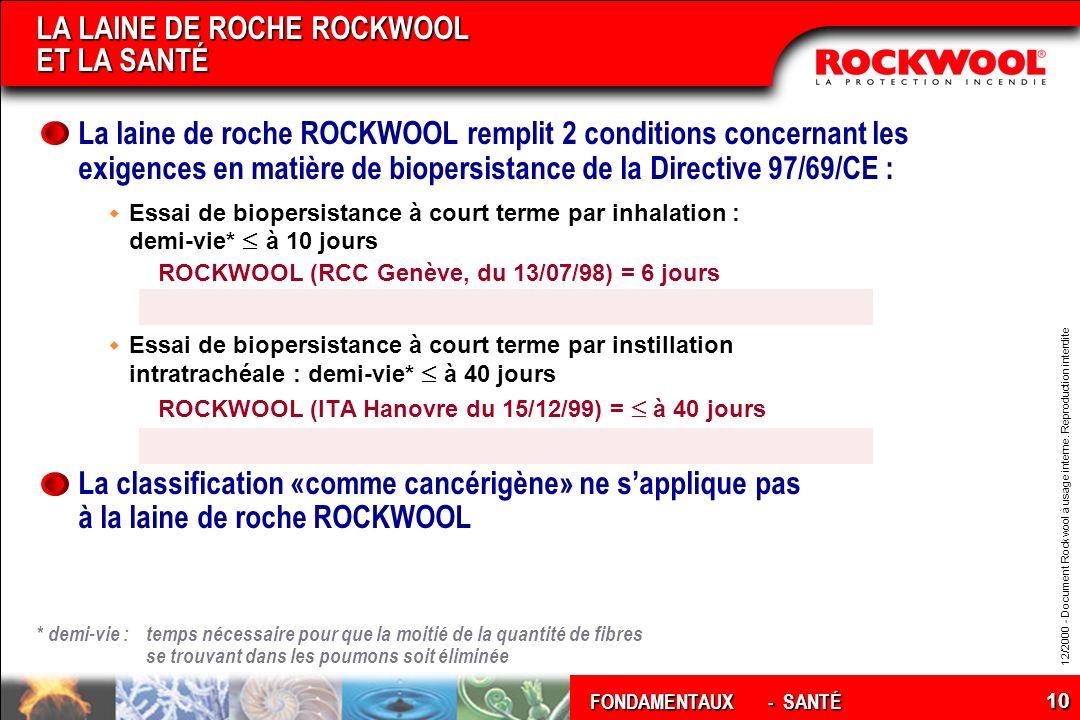 LA LAINE DE ROCHE ROCKWOOL ET LA SANTÉ